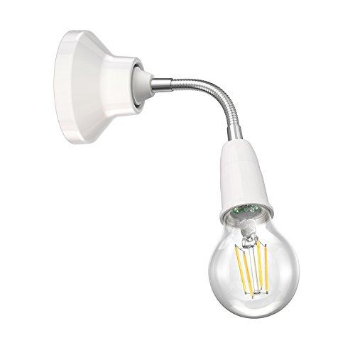 ledscom.de Wand-Leuchte Elektra, Porzellan, mit Schwanenhals, inkl. E27 LED Lampe weiß 380lm -