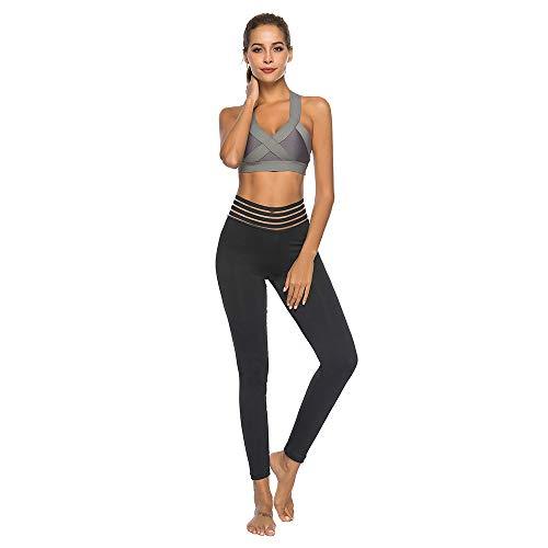Damen Hohe Taille Pocket Leggings, LeeMon High Waist Sexy Skinny Fitness Sports Gym Running Yoga Athletic Pants (Schwarz, L)