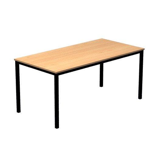 Konferenztisch mit Vierkant-Rohr schwarz DORAN 160 x 80cm Buche