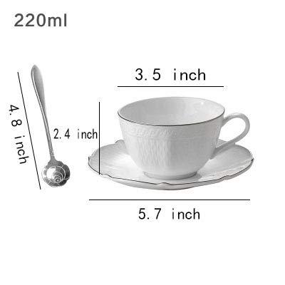 Tasses à café,Ensemble de Tea-thé Mug en céramique Cadeau Tasse Espresso Mis en avec Soucoupe et cuillère Blanc-B 220ml