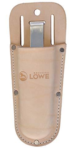 Original LÖWE Gürteltasche Leder Holster braun für Gartenschere mit Metall-Clip - robuste feste Ledertasche zur Aufbewahrung am Gürtel oder Hosentasche für Amboss Bypass Baumschere Pflanzenschere -