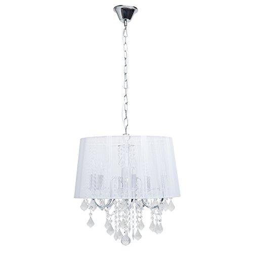 Shabby chic lampadario pendente classico delicato colore cromo e bianco paralume di stoffa gocce cristallo molato stile barocco tradizionale 5*60w e14 - escl
