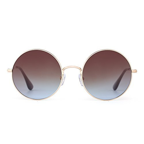JM Retro Runden Blinken Sonnenbrille Reflektierend Kreis Linsen Legierung Brillen Dame Herre(Gold/Gradient Braun)