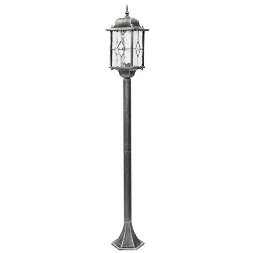 Borne lumineuse lampadaire extérieur de style moderne en métal couleur noir patiné argent et abat-jour en métal et verre vitraillé pour jardin ou patio 1 ampoule non-inclu 1*95W E27 230V IP44