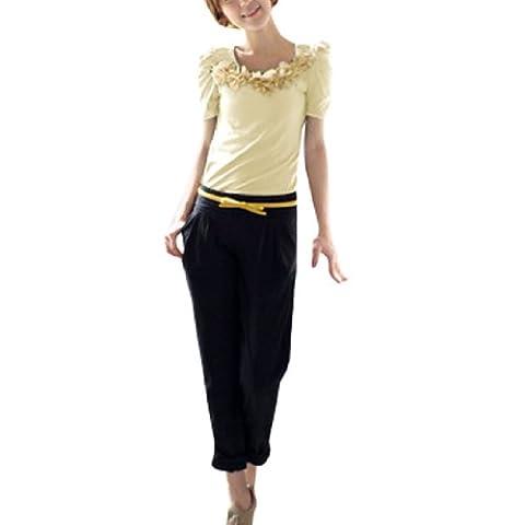 sourcingmap® Lady Black Lace Back Flower Accent Summer Shirt Beige XS