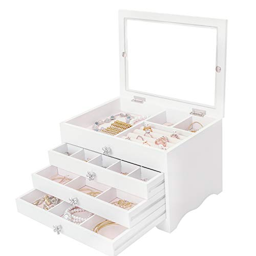 Dainty Schmuckkästchen Weiß Schmuckbox Damen Groß 3 Ebenen mit 2 Schubladen mit Glasdeckel für Ohrringe, Halsketten, Armbänder, Uhren, Haarnadeln