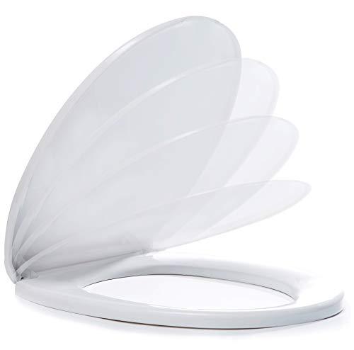 WC Sitz mit Absenkautomatik Toilettendeckel Weiß | Geräuschlos - Robust | Leichte Montage (Runde Wc-sitz Weiß)