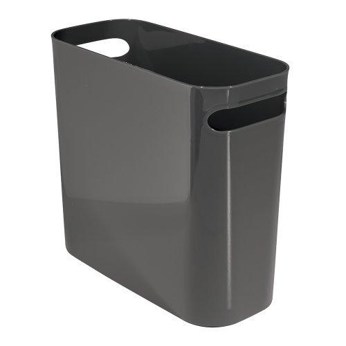 iDesign Mülleimer mit Griffen, kleiner Papierkorb aus Kunststoff, moderner Abfalleimer für Büro, Küche oder Badezimmer, grau