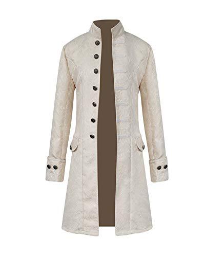 (Punk Jacke Steampunk Gothic Langarm Jacke Retro Mittellang Mantel Kostüm Cosplay Uniform Für Männer Weiß S)