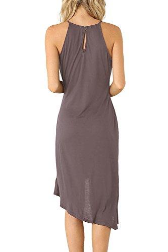 Eliacher Frauen hling und Sommer einfachen Falten Weste Rock Kleid 6070 Dunkel Grau