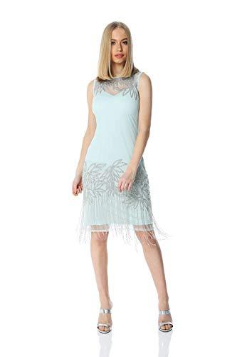 Roman Originals Damen Verziertes Flapper-Kleid - Damen ärmellose, knielange Kleider, 1920er, Great Gatsby, Party, abends, Vintage, Retro, Weihnachten, Cocktails, Verkleiden - Minze - Größe 44 - Shirt Kleid Minze Frauen