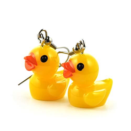 SCHMUCKZUCKER Damen Ohrhänger Quietsche-Ente witzige Edelstahl Ohrringe Silber Gelb Mittlere Ente ()