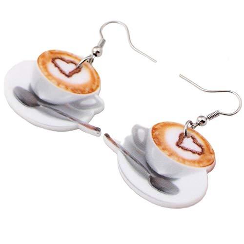 WANG leichte Flache Tropfen baumeln großes Herz in kaffeetasse Essen Ohrringe für Frauen Mode-Accessoires acryl Druck schmuck