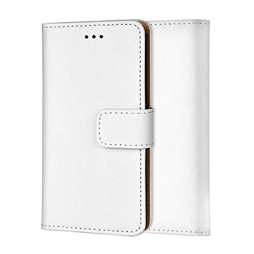 Ameego Premium Genuine Real Leather Flip Wallet Magnetic Kickstand Slim Book Case Cover for Samsung Galaxy Note 3 N9000 N9005 Leather Wallet Book Flip Case Cover (White) - Case Galaxy 3 Note Leather Wallet