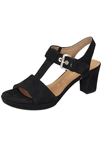 Gabor Shoes Comfort, Sandali con Zeppa Donna, Nero (Schw.Gold/Absobl), 42.5 EU