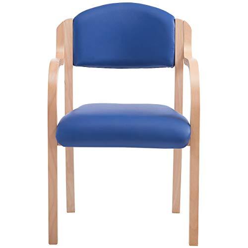 Certeo Stapelstuhl Devon mit Armlehnen, blau - Wartezimmerstuhl mit Holzgestell - Gepolsterter Besucherstuhl