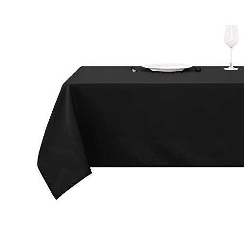 Deconovo tovaglia cerata rettangolare impermeabile in tessuto oxford per sala da pranzo 130x160cm nero