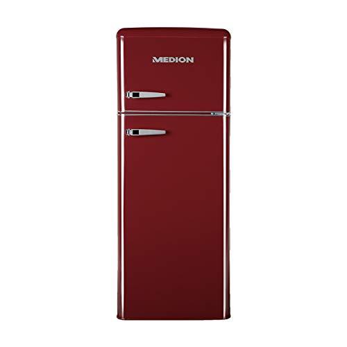 MEDION Retro Kühl-Gefrierkombination (Kühlschrank, 4 Sterne Gefrierfach, 208 Liter Nutzinhalt, Temperaturkontrolle, Retro-Design, MD 37258) rot