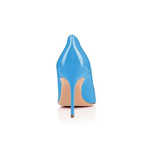 EDEFS Damen Comfort Basic Pumps,Klassische Damen Pumps,80mm Stilettos Büroschuhe Hochzeit Abendschuhe Blue