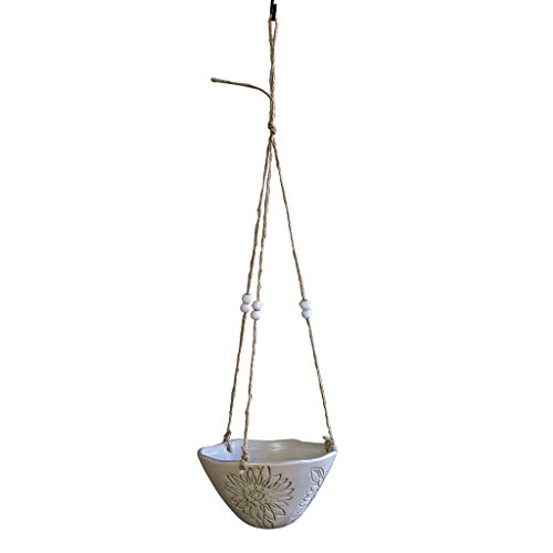 Time Concept Pottery Hängepflanze - Blumendesign, grüner Topf mit Hanfschnur, für Haus und Garten Flower Design, White Wall Oval Pot Rack