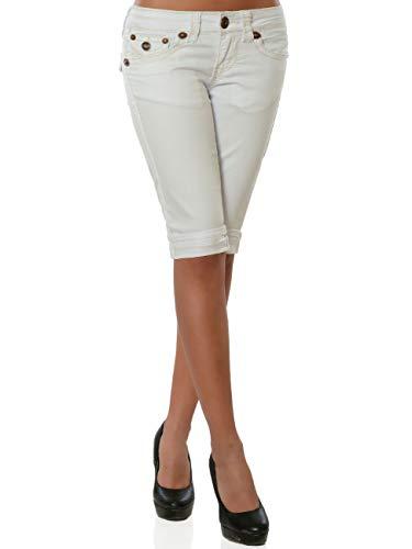 Damen Capri Jeans Kurze Sommer Hose Dicke Naht DA 15984 Farbe Weiß Größe S / 36