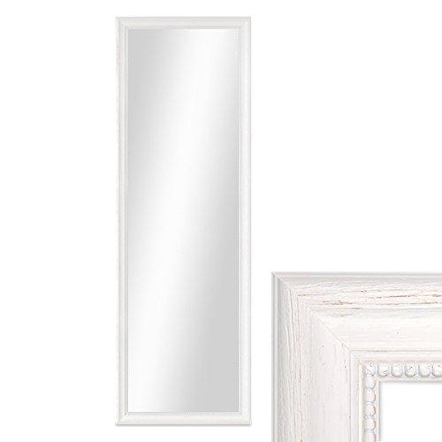 PHOTOLINI Wand-Spiegel 36x96 cm im Holzrahmen Landhaus-Stil Weiss/Spiegelfläche 30x90 cm