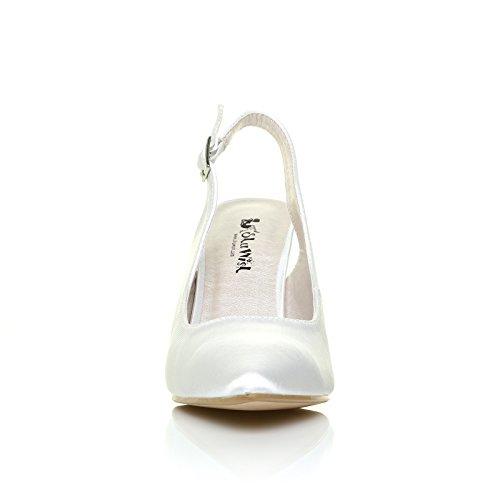 ShuWish UK - Escarpin FAITH Satin Blanc Bride Cheville Talon Aiguille Satin blanc