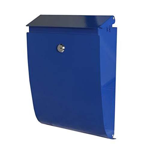 Briefkasten An Der Wand Befestigter Abschließbarer Büro-Briefkasten/Briefkästen for Äußeres/Dekorativer Briefkasten/Galvanisiertes Blatt-Material/Rot, Blau (Color : Blue) -