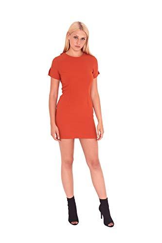 UNIQUE 21 Damen Minikleid Rost mit Rückenverzierung UD30012 Gr. 40, rot