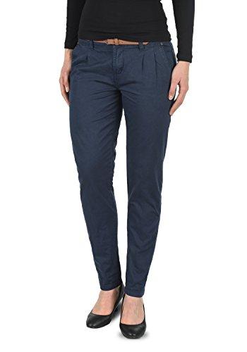DESIRES Jacqueline Damen Chino Hose Stoffhose Mit Gürtel Aus 100% Baumwolle Slim Fit, Größe:40, Farbe:Insignia Blue (1991)