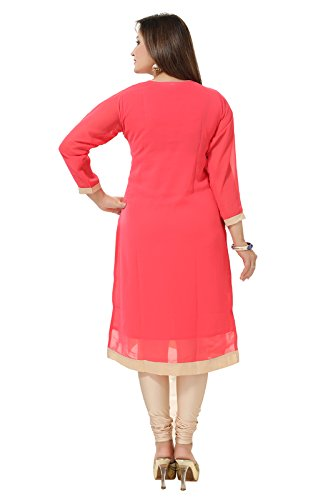 Dream & Dzire Women'S Georgette Embroidered Kurti (D&D_1321-38 , Carrot Pink Size:38)