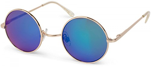 styleBREAKER runde Sonnenbrille mit schmalem Metall Gestell, Retro Design, Bügel mit Federscharnier, Unisex 09020065, Farbe:Gestell Gold/Glas Grün-Blau verspiegelt (Bilder Von Hippies Kostüm)