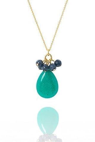 Aubrey douce david pendentif en forme de goutte avec turquoise/vert et iolitcluster-laiton-plaqué or 18 cts-env. 43 cm de long et 1,5 cm de rallonge-eLSNE15A