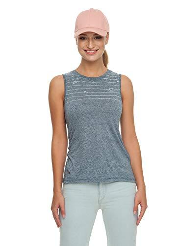 Ragwear Zorra Damen,Tank Top,Shirt,Oberteil,ärmellos,vegan,Rundhalsausschnitt,hinten lang,asymmetrischer Schnitt,Denim Blue,XS - Asymmetrische Top