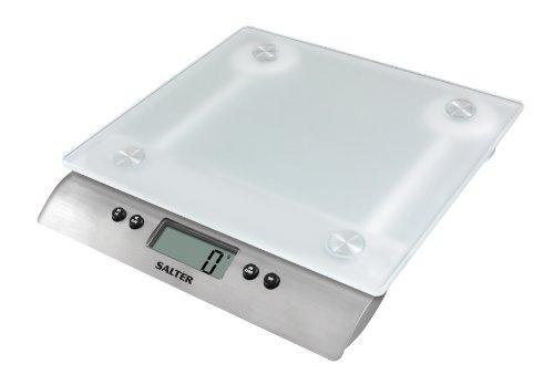Salter 1242 WHDR Bilancia da Cucina Digitale Piatto in Vetro, Igienica e Facile da Pulire, Funzione Aquatronic per Pesare i Liquidi, Funzione Aggiungi e Pesa, Capacità 10 KG, Vetro e Argento