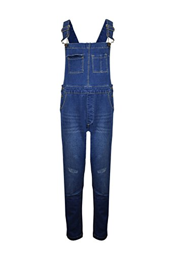 Kids Girls Boys New DENIM Childrens Stretch Dark Wash Dungarees Playsuit Jumpsuit Long UK Jeans Bib Overalls Pinafore Cotton Age 7-13 Yr