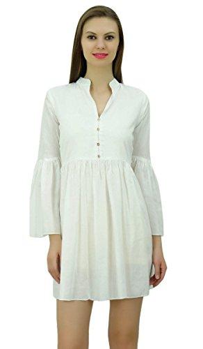 Bimba Frauen Designer Kurz Boho Chic Kleid Mit Gather Auf Taille & Rüsche Ärmel Tunika Weiß