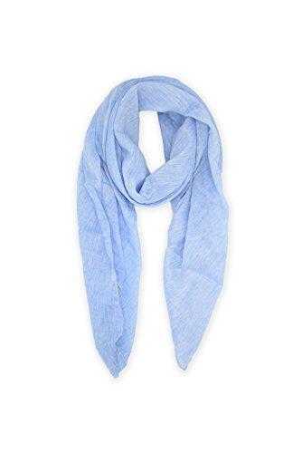 Abbino 0804-1 Schal Tuch für Frauen Damen - Made in Italy - 20 Farben - Frühling Sommer Herbst Damenschal Baumwolle Unifarbe Sale Sexy Stilvoll Lang Gross Festlich Lässig Freizeit - Chinablau