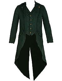81af41348 Runyue Chaqueta Medieval Halloween Carnaval para Hombre Punk Traje  Victoriano Tuxedo Abrigo Gótico Verde M