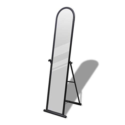 vidaXL Miroir en Fer sur Pied Noir Décoration de Maison Miroir Bascule Decor
