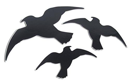 Windhager Vogel-Silhouetten Vogelaufkleber Fensterschutz, schützt Vögel vor transparenten Großflächen, 3 Stück, 07116 -