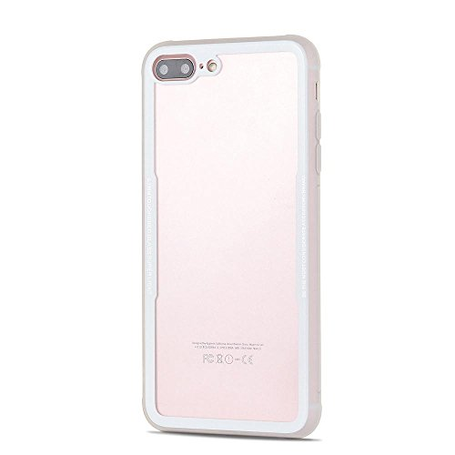 more photos 0927a 7189b Johra® iPhone 7 Plus/iPhone 8 Plus Back Cover Toughened Glass Super Light  Hard Transparent Back Bumper Side Border Cover Case for Apple iPhone 7 ...