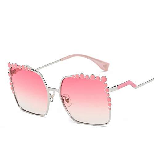 Lieyliso Übergroße Sonnenbrille Gradient Metal Frame Glasses (Color : B)