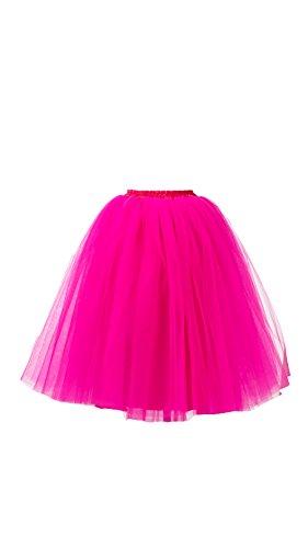 Honeystore Damen's Lang Ballet Petticoat Abschlussball Party Zubehör Tutu Unterkleid Rock Rose (Kostüm Romeo Julia Party Und)