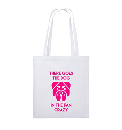 Comedy Bags - THERE GOES THE DOG IN THE PAN CRAZY - Jutebeutel - lange Henkel - 38x42cm - Farbe: Schwarz / Pink Weiss / Pink