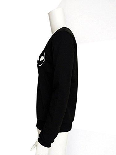 COCO clothing Alieno Stampa Felpe Donna Girocollo Maglietta Tinta Unita Ragazza Tops Camicetta Autunno Casual Maglia a Manica Lunga T-shirt Nero