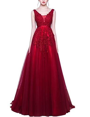 Romantic-Fashion Damen Ballkleid Abendkleid Brautkleid Lang Modell E001-E006 Blütenapplikationen Tüll DE Bordeauxrot Größe 36