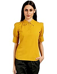 Ombre Lane Women's Spectra Yellow Puff Sleeves Cotton Top. (Large)