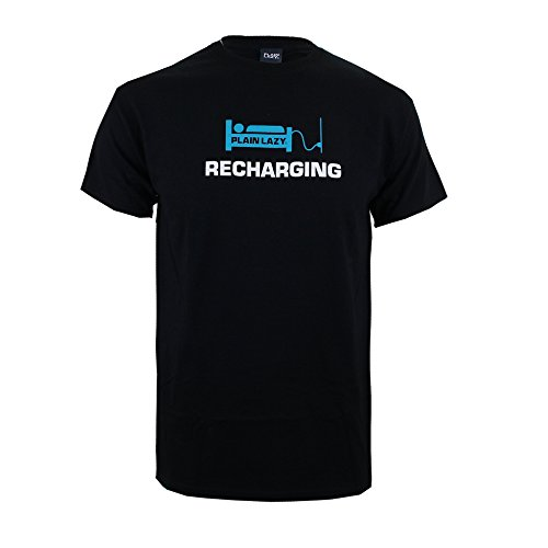 Plain Lazy Herren Recharging-Mens T-Shirt Schwarz