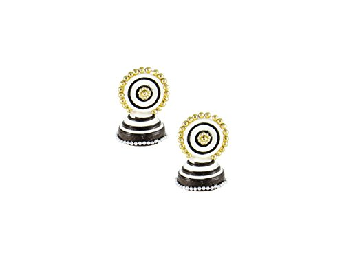 GoldGiftIdeas Handmade Black-White Quilled Earrings Stud With Jhumkas | Paper Quilling Earrings for Girls and Women  available at amazon for Rs.249